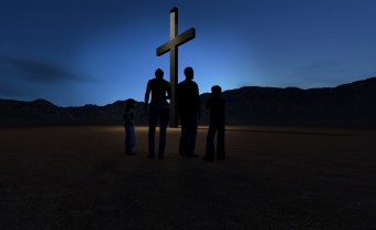 Christian family at the Cross made in 3d software
